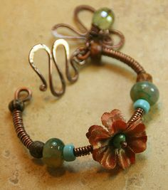Mother's Day Special - Copper Wrapped Bangle with Silk Flower Focal by AllowingArtDesigns, $46.00