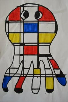 """finally got around to trying out the popular """"Mondrian Animals"""" lesson. I originally saw it in """"Arts & Activities"""" magazine by art . Piet Mondrian, Art Lessons For Kids, Art Lessons Elementary, Art For Kids, Mondrian Art Projects, Haring Art, Keith Haring, 2nd Grade Art, Artist Project"""