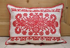 Vintage Kalotaszeg Hand Embroidered Pillow Cover / by Medreana Hungarian Embroidery, Folk Embroidery, Bolster Pillow, Throw Pillows, Ethnic Clothes, Outdoor Furniture Covers, Hemp Fabric, Moldova, Mold And Mildew