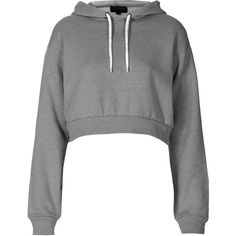 TOPSHOP Crop Pull On Hoody ($15) ❤ liked on Polyvore featuring tops, sweaters, shirts, hoodies, crop tops, grey marl, gray shirt, topshop, grey shirt and shirt crop top