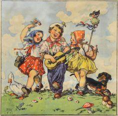 Marie Kvěchová-Fischerová, 1939 Vintage Pictures, Vintage Images, Illustrator, Vintage Illustration, Children Images, Pose Reference, Vintage Postcards, Vintage Children, Cover Art