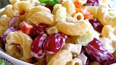 A salad made with elbow macaroni and kidney beans has a red wine vinegar and light mayonnaise dressing. It is perfect for picnics!