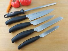 "J.A. Henckels Solingen Germany Five Star - 5 Piece Knife Set - 8"" Chef Bread 6"" Slicing 5"" Utility Hone"