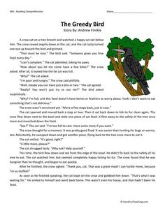 This Reading Comprehension Worksheet - The Greedy Bird is for teaching reading comprehension. Use this reading comprehension story to teach reading comprehension. Reading Comprehension Worksheets, Reading Fluency, Reading Passages, Reading Skills, Comprehension Exercises, Reading Genres, English Stories For Kids, Moral Stories For Kids, Short Stories For Kids