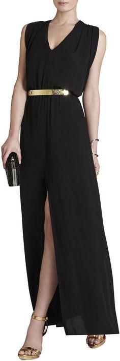 BCBGMAXAZRIA Raymee Sleeveless Draped Waist-Tie Maxi Dress | #Chic Only #Glamour Always