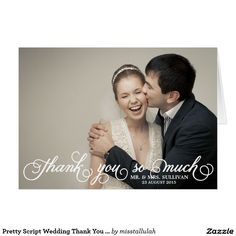 Pretty Script Wedding Thank You Card