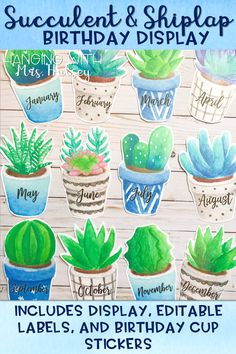A fun and easy way to display student birthdays in your classroom! This set will easily match a succulent, rustic, shiplap, or farmhouse themed room!