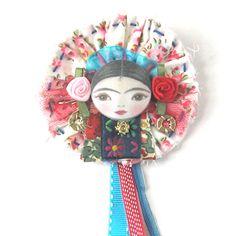 Flower Brooch, Art Doll Pin, Button Brooch, Boho Jewellery, Hand Stitched Pin, Lapel Pin