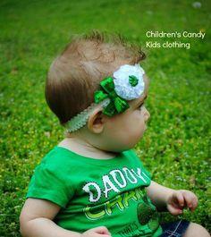 St Patrick's Day White Green Shamrock by ChildrensCandyKC on Etsy