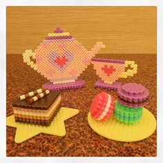 Chocolate cake and macarons - Tea time perler beads by starmiti