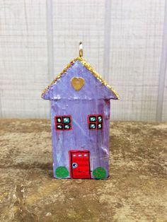Little Lilac Wooden House Sculpture / Ornament