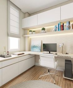 Trendy home office planned - Trendy home office planejado Trendy home office planned Mesa Home Office, Home Office Setup, Home Office Space, Home Office Desks, Office Furniture, Office Chic, Ikea Furniture, Furniture Design, Office Interior Design