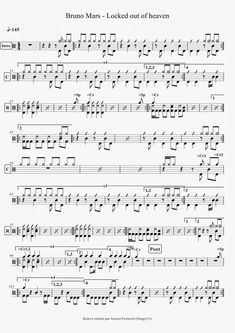 Bruno Mars - Locked out of heaven Drum Sheet Music, Drums Sheet, Transcription, Learn Drums, Locked Out Of Heaven, Drum Patterns, Reading Music, Drum Lessons, Bruno Mars