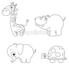 Beskrivs söta djur set: giraff, flodhäst, elefant och sköldpadda — Stockillustration #10069853