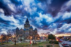 Stretched Canvas - Denton Texas County Courthouse HDR Fire in the Sky Dramatic Sunset