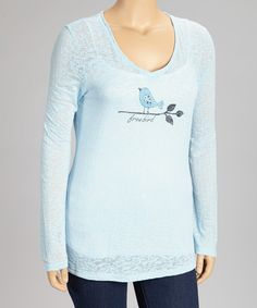 Look what I found on #zulily! Blue 'Free Bird' Burnout Top - Plus by TROO #zulilyfinds