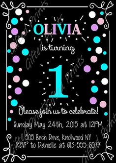 Birthday Invitation • Girl Party Theme • Free economy shipping • Fast turnaround time • Great customer service • These birthday invitations are custom, high resolution digital files that are personalized for each customer upon order