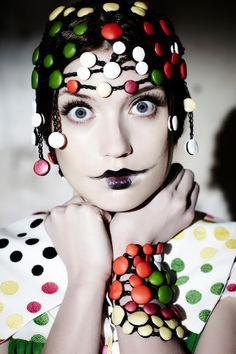 Polka Dots. red.yellow.white. Black lips. Goth