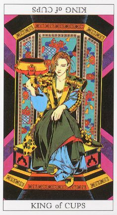 Love and Mystery Tarot by Yoshitaka Amano: King of Cups King Of Cups, Yoshitaka Amano, Le Tarot, Fortune Telling Cards, Oracle Cards, Japanese Artists, Tarot Decks, Occult, Illustration Art