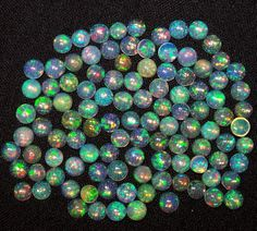 Super Flashy Metallic Green Fire 5 MM Natural Ethiopian Welo Opal Round Cabochon