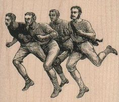Four Running Men 3 1/4 x 2 3/4 - $11 mounted - very #funny #vintage #group of #men #running #rubber #stamp