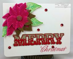 Painted Poinsettias stamps/dies, Holiday Double Cuts die, gold-dipped die cuts idea from recent Make-It-Monday @ PTI
