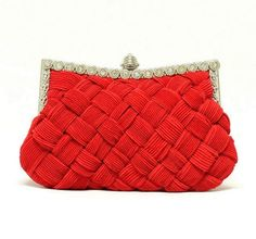 red Clutch Party bridal Purse Evening shoulder Bag Rhinestone Satin Handbag  #Handmade #EveningBag