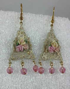 Sunday earring challenge 6/14/15-love the B'Sue base piece and the ceramic roses!
