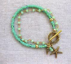 Seafoam Starfish - Multi Strand Coastal Bracelet, Gold and Mint, w Starfish Charm by SeaSide Strands
