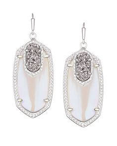 Emmy Drop Earrings In Platinum Orbit Our Clic Smaller Statement Oval Elle Are Given A Sparkly Twist With Drusy Accents By Kendra
