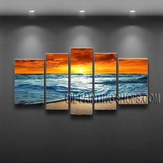 Enchanting Contemporary Wall Art Oil Painting On Canvas Panels Gallery Stretched Sunset. This 5 panels canvas wall art is hand painted by E.Cheung, instock - $185. To see more, visit OilPaintingShops.com
