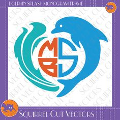 Dolphin Monogram Frame SVG DXF EPS Cutting by SquirrelCutVectors