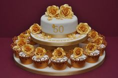golden wedding cake - Google Search