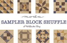 2015 Moda Sampler Shuffle Block Free patterns from various quilt designers     from fat quarter shop
