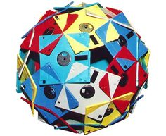 A ball made out of 30 floppy disks interlocking with each other!