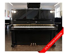 """A 1972, Yamaha U3 upright piano with a black case and polyester finish at Besbrode Pianos. Eighty-eight note keyboard. Piano has three pedals including an una corda pedal, a practise pedal and a sustain pedal. Price includes:      First tuning free. Usually 4 weeks after piano delivery to allow """"settling in"""".     Free matching, adjustable piano stool     Free delivery to a ground floor residence within mainland UK."""