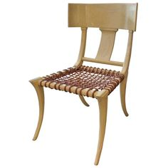 T.H. Robsjohn-Gibbings Inspired Limed/Cerused Oak Klismos Chairs | From a unique collection of antique and modern side chairs at https://www.1stdibs.com/furniture/seating/side-chairs/