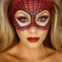 Took way to many photos of this look joy So here's a close up Halloween Spider-Man inspired look heart Products I used: Face @maccosmetics NC35 studio fix + @blankcanvascosmetics contour palette Mask: @makeupstore Red blush + red glitter @inglotireland black gel liner #77 as the web. Lips: black pencil liner + @sleekmakeup matte me red lip cream