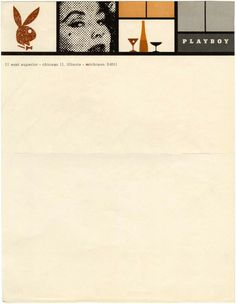 Old stationary design from Playboy Magazine. I like the collage at the top with bold lines to separate each image #stationary