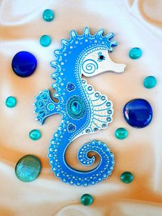 Seahorse Crafts, Seahorse Art, Wooden Wall Decor, Wall Art Decor, Nc Tattoo, Simple Acrylic Paintings, Painted Letters, Etsy Crafts, Blue Art