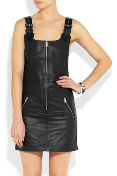 McQ Alexander McQueen Turboline leather dress NET-A-PORTER.COM Alexander Mcqueen Shoes, Pinafore Dress, Dungarees, Perfect Fit, Leather Skirt, Black Leather, Clothes For Women, My Style, Long Sleeve