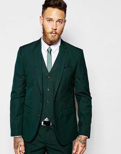 ASOS   ASOS Slim Fit Suit Jacket In Dark Green at ASOS