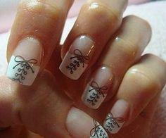 French bow manicure girly cute nails girl nail polish nail pretty girls pretty nails nail art french tips french nails Get Nails, How To Do Nails, Hair And Nails, Nails 24, Corset Nails, Nail Art Designs, Nail Design, Design Art, Shoe Nails
