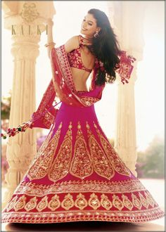 Lehenga gold zari zardozi indian weddings bride bridal wear www.weddingstoryz.com details magenta lengha from @KalkiFashion.com.com.com.com
