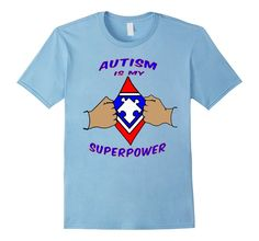 Men's Autism Awareness Shirts Autism Awareness Products SuperPower 2XL Baby Blue