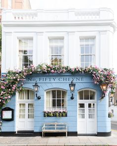 Blue Aesthetic Discover London Photograph - Number Fifty Cheyne Walk Chelsea England Fine Art Photograph Travel Home Decor Large Wall Art Outdoor Light Fixtures, Outdoor Lighting, Porche, Cafe Design, Cafe Interior Design, Coffee Shop Design, Bakery Design, Shop Fronts, Blue Aesthetic