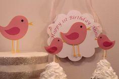 Pink Bird Birthday Door Sign by PinkPoppyCupcakes on Etsy, $8.00