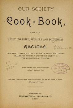 Our society cook book, embracing about 1200 tri...  Mushrooms on Page 184