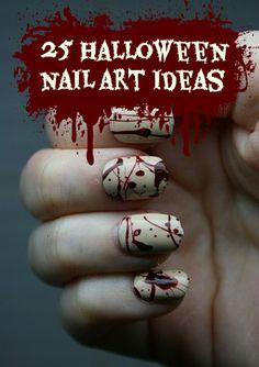 2014 Japanese Nail Art- Halloween Splatter Nails With Sticky Tabs Cute Nails, Pretty Nails, Nail Art Designs, Nail Design, Nail Art Halloween, Bloody Halloween, Pretty Halloween, Gothic Halloween, Halloween Makeup