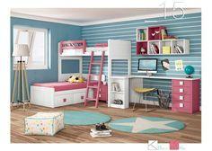 Habitación Infantil: Habitación infantil con litera tren 589-152016 | Habitación infantil con litera alta de estilo colonial con brazos rematados en ondas y cama nido in